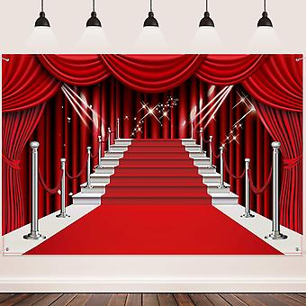 Red curtain backdrop banner, large red carpet fabric photography backdrop customized photo backgroun