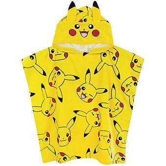 Pokemon Poncho Towel For Boys Girls | One size Pikachu Hooded Bath Towel With 3D Ears | Kids Warm & Dry Cotton Robe