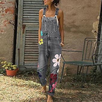 New Fashion Printed Button Casual Cowboy Sexy Long Romper Pantaloni