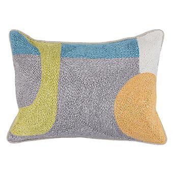 Almohada de lanzamiento envuelta en tela con patrón abstracto tejido a mano, gris