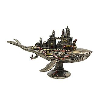 Bronze Finish Steampunk Fifty Two Hertz Galactic Whale Warship Tabletop Statue
