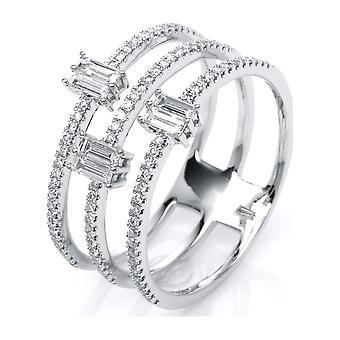 Luna Criação Leger Ring Multiple Stone Trim 1J838W853-1 - Largura do anel: 53