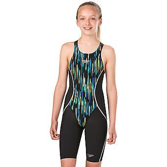 Speedo Girls Fastskin Junior LZR Racer X Kneeskin - Black and Chroma Blue
