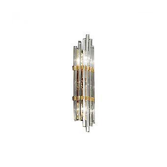 Ontario Lámpara De Pared De Cristal Dorado 24k 2 Luces