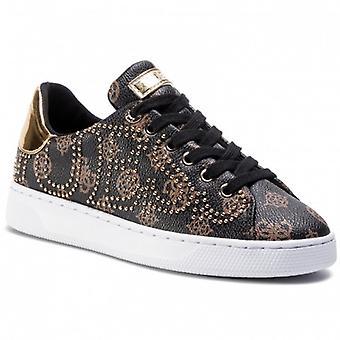 Shoes Women's Sneaker Guess Mod. Brown Color Razz Multilogo/ Gold D21gu22