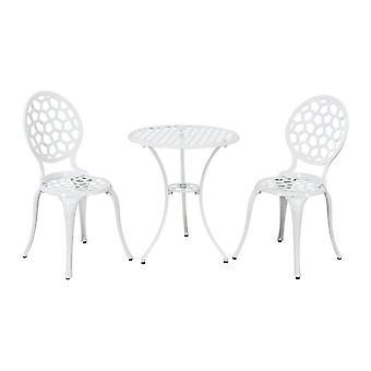 White Metal Garden Patio Bistro Set 2 Chaises à manger Table ronde Extérieur Durable