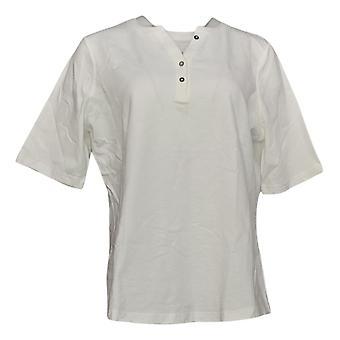 Denim & Co. Women's Top Elbow Sleeve Textured Knit Henley White A303257