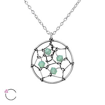 Dreamcatcher With Genuine European Crystal - 925 Sterling Silver Necklaces - W36444x