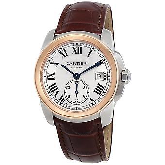 Cartier Calibre De Cariter Silver Dial Rose Gold Men's Watch W2CA0002