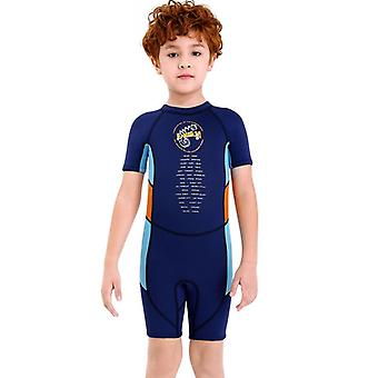 Kids wetsuit long sleeve one piece uv protection thermal swimsuit dfse-1