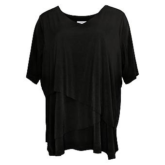 Susan Graver Women's Top Knit Elbow Sleeve Tiered Tunic Black A378546