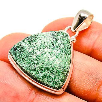 "Pendentif fuchsite vert 1 1/2"" (925 Sterling Silver) - Handmade Boho Vintage Jewelry PD757295"