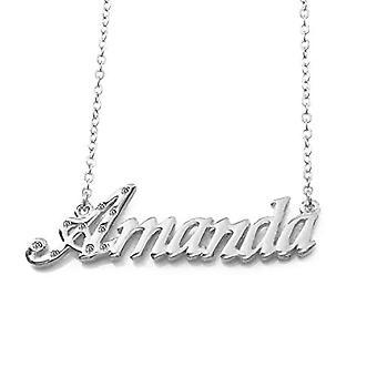 KL Kigu Amanda - Naisten kaulakoru päällystetty 18 karat valkoinen kultaa, muokattavissa nimi, muodikas jalokivi, lahja Ref. 4963303142319