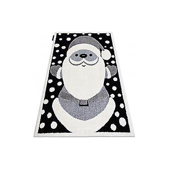 Modern children's rug  JOY Santa claus, for children - structural two levels of fleece black / cream
