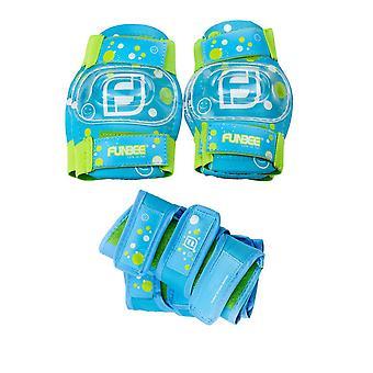 Funbee Boy Kinder Aktivitäten X-Small/Small Wrist Guards, Ellenbogen Pads und Kniepolster Schutz Set - blau/grün