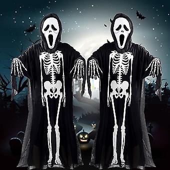 Kallo Luuranko Ghost Cosplay Puku Halloween Naamiaispuku +paholainen Naamio+hanskat