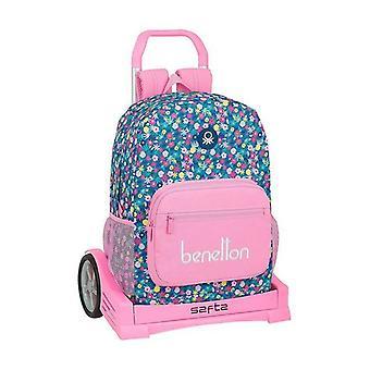 Zaino scuola con ruote Evoluzione Benetton Blooming Pink