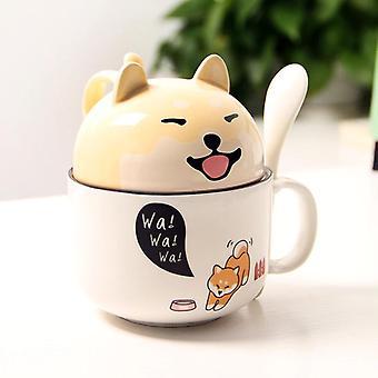 Mit Abdeckung Süße Hund Kaffee Tee Tasse Kirsche Doppelschicht Keramik Saft Tasse (gelb)