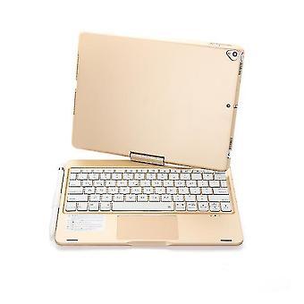 Kablosuz bluetooth klavye, ipad 8 10.2 inç (Altın) için arka ışıkla 360 derece döndürülebilir