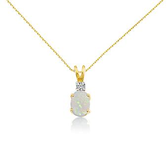 LXR 14k צהוב אליפסה אופל ותליון יהלום 0.92ct