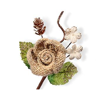12 Gold Hessian Flowers with Pine Fir Cone Pick - Christmas Floristry