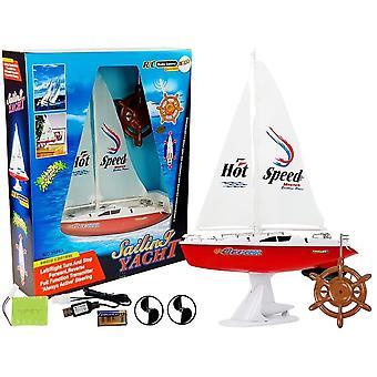 RC Segelboot - 50 Meter Reichweite - 15 km/h - 27mhz - rot