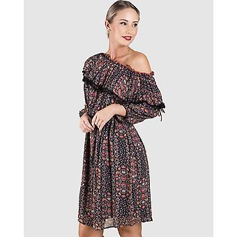 Printed Off Shoulder Pom Pom Dress