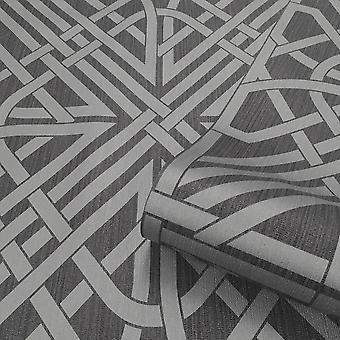 Oria Link Charcoal Silver Wallpaper