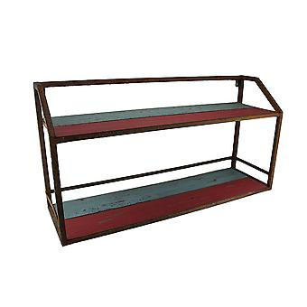Vintage Finish Wood & Metal Display Stand/Wall Shelf 27 in.