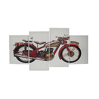 4 Piece Vintage Motorcycle Canvas Wall Art Set