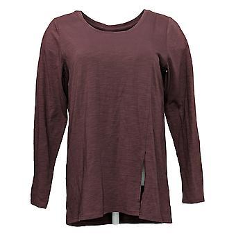 Modern Soul Women's Top Long Sleeves Scoop Neck Purple 681481