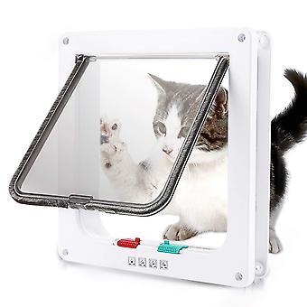 Katzen- / Hundetür kann ein- und aussteigen, Haustiertür mit 4 Arten von Kontrollfunktionen, geeignet für kleine und mittelgroße Katzen und Hunde, einfach zu inst