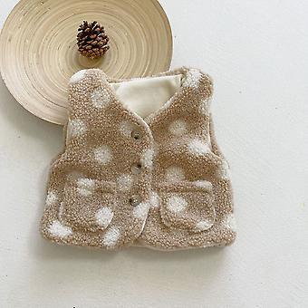 Baby Thicken Vest 2021 Winter New Children's Polka Dot Vest Baby Plus Velvet Warm Vest Toddler Vest