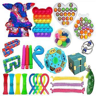 26st Stress Reliever Set Push Pop Bubble Diy Fidget Leksaker för autistiska barn