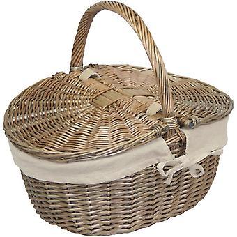Antik yıkama bitirmek Hasır Oval Piknik Sepeti