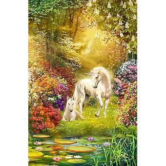 Очарованный сад единороги печать плаката Ян Патрик