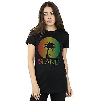 Island Records Women's Distressed Logo Boyfriend Fit T-Shirt