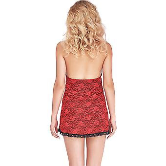 Mio Sexy Amaryllis Red and Black Lace Chemise B2706