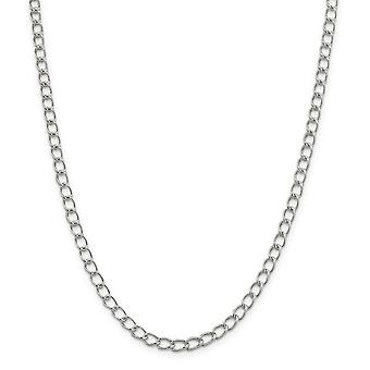 925 Sterling Silver Solid Polished Fancy Lobster Closure Half round Wire Curb Chain Bracelet 5.3mm Lobster Claw Jewelry
