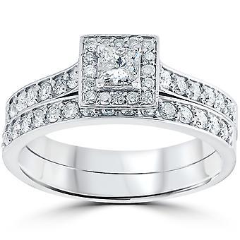 3/4 Cttw Prinzessin Schnitt Diamant Halo Engagement Trauring Set 10K Weißgold