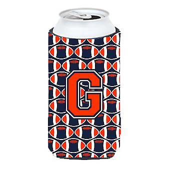 Letter G voetbal oranje, blauw en wit hoog Boy drank isolator Hugger