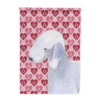Bedlington Terrier Hearts Love and Valentine's Day Portrait Flag