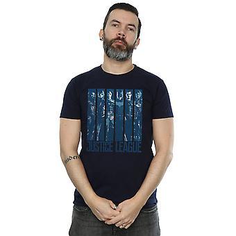 العدل دوري الفيلم القميص دي سي كوميكس الرجال نيلي مزدوجة