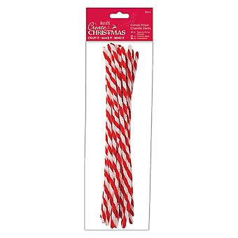 DoCrafts Candy Stripe Chenille Tiges 20 Pack