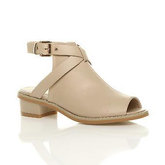 Ajvani naisten alhainen puolivälissä lohko kantapää peep toe solki nilkka hihna saappaat Sandaalit kengät