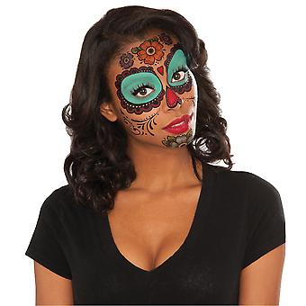 Floral Day Of The Dead Mexican Senorita Women Costume Temporary Face Tattoos