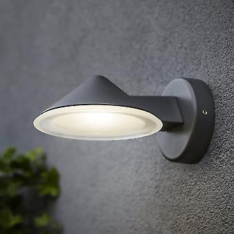 Lutec Cone 12W Exterior LED Wall Down Light In Graphite