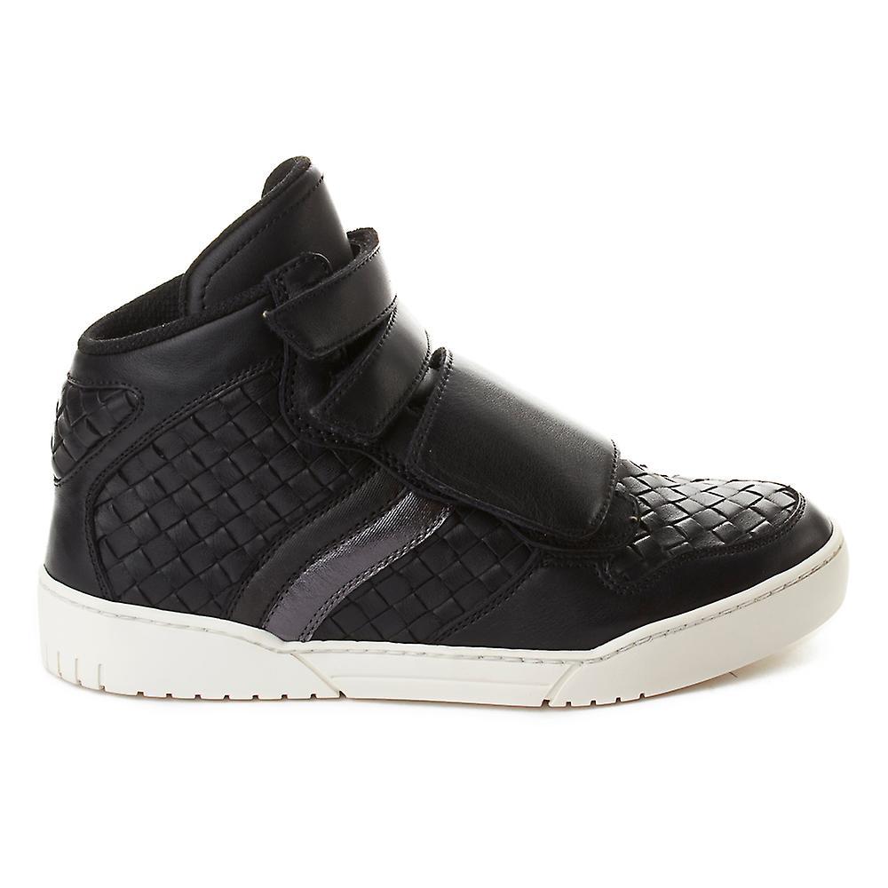 Bottega Veneta Men's Intrecciato Leather High Top Sneaker Shoes Black