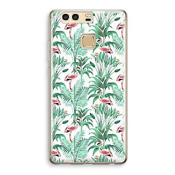 Huawei P9 gjennomsiktig sak (myk) - Flamingo blader
