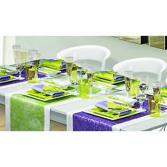 Utensílios de mesa de festa para 8 convidados 120-teilig festa pacote branco corretivo verde pacote de festa